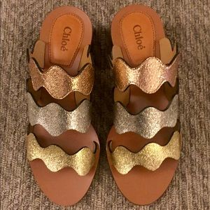 Chloe Metallic Leather Lauren Slide Sandals!